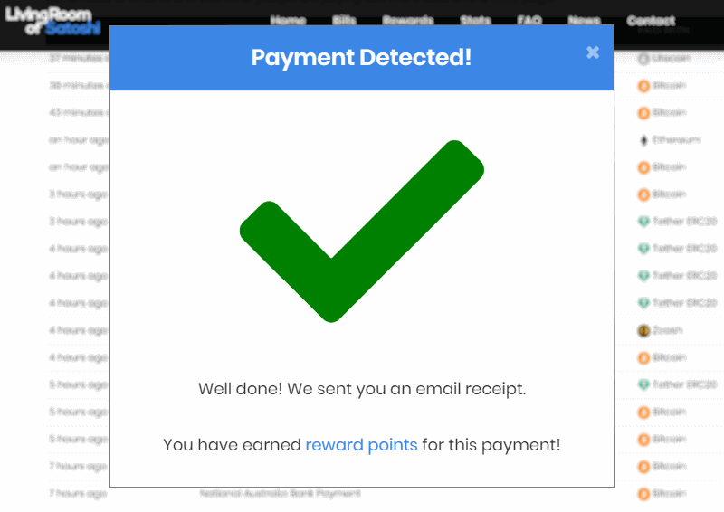btc bill payment successful